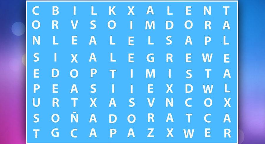 Test: ¿Cuál es la primera palabra que encuentra de este sopa  de letras?