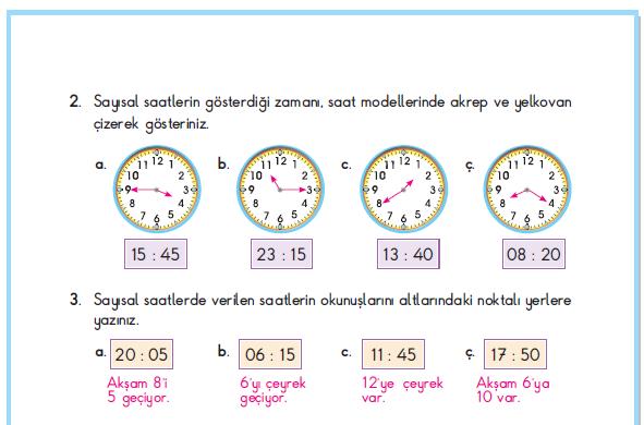 3. Sınıf Berkay Yayınları Matematik Çalışma Kitabı 112. Sayfa Cevapları 5-1. Çalışma Zamanı Ölçelim