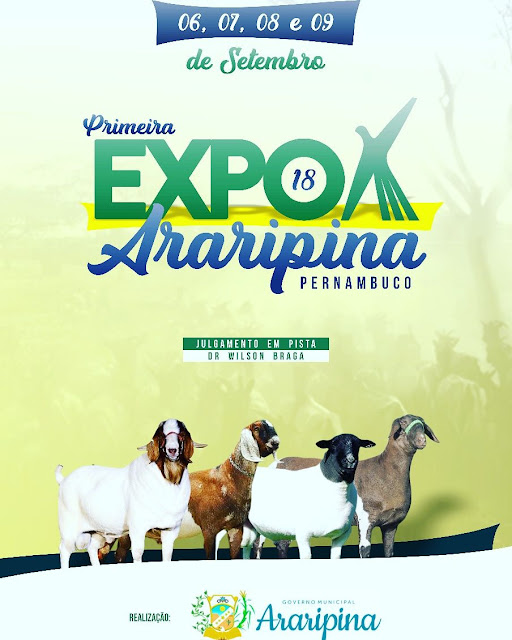Araripina sedia Exposição e Feira de Negócios de Caprinos e Ovinos entre os dias 6 e 9 de setembro 2018