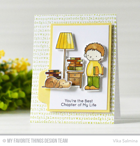 Handmade card from Vika Salmina featuring Birdie Brown Our Story stamp set and Die-namics, Typewriter Text Background stamp, and File Folder Edges Die-namics #mftstamps