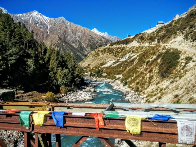 Crossing the beautiful Baspa river at Chitkul