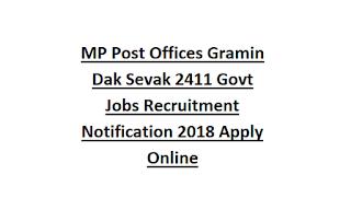 MP Post Offices Gramin Dak Sevak 2384 Govt Jobs Recruitment Notification 2020 Apply Online
