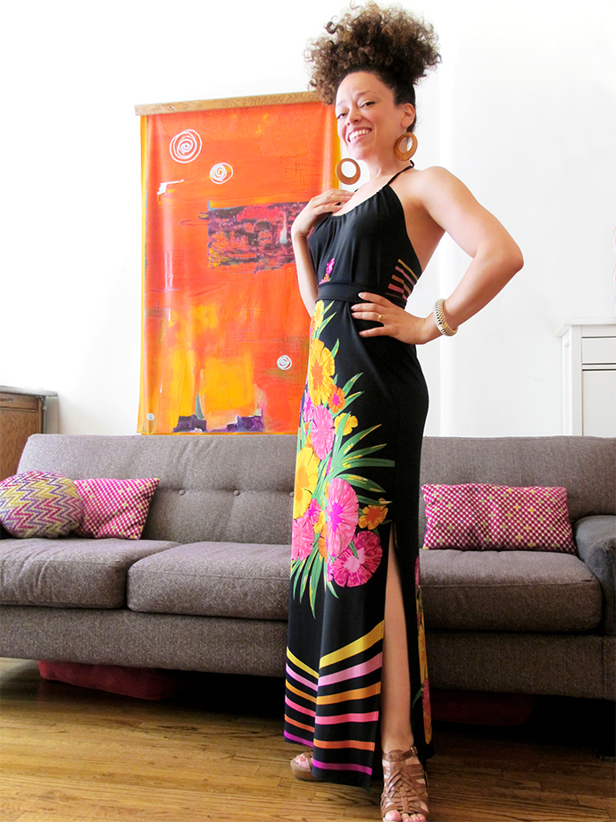 oonaballoona | a sewing blog by marcy harriell | halter panel print maxi burda dress