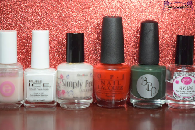 Essie Grow Stronger, Pure Ice Super Star, Bliss Kiss Simply Peel Latex Barrier, O.P.I Fashion A Bow, Bad Bitch Polish Fuck Comic Sans, Glisten & Glow HK Girl Fast Drying Top Coat