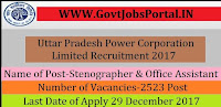 Uttar Pradesh Power Corporation Limited Recruitment 2017– 2523 Stenographer & Office Assistant