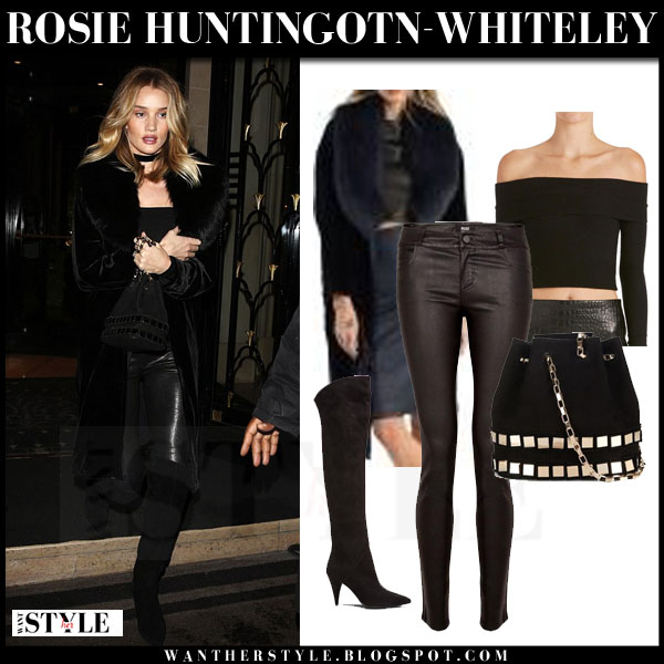 Rosie Huntington-Whiteley in black fur collar coat, leather paige denim verdugo pants and suede saint laurent cat suede boots what she wore model style