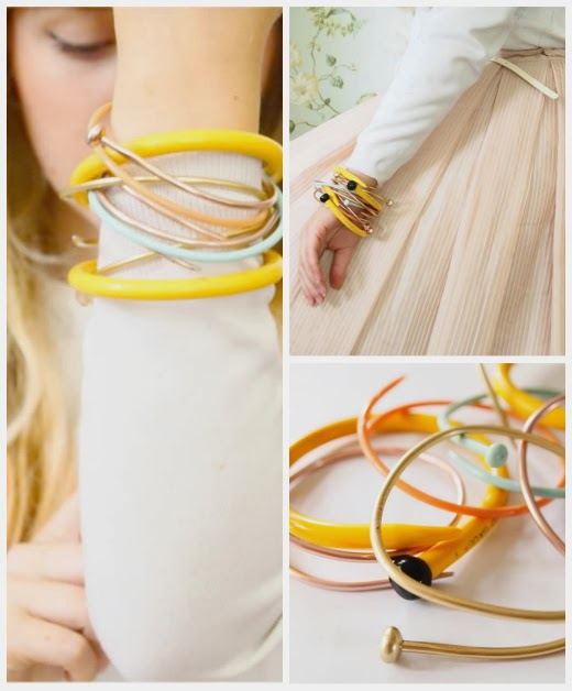 Recycled knitting needle smashed bangle bracelet