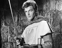 Roger Moore dressed as a medieval knight in Ivanhoe