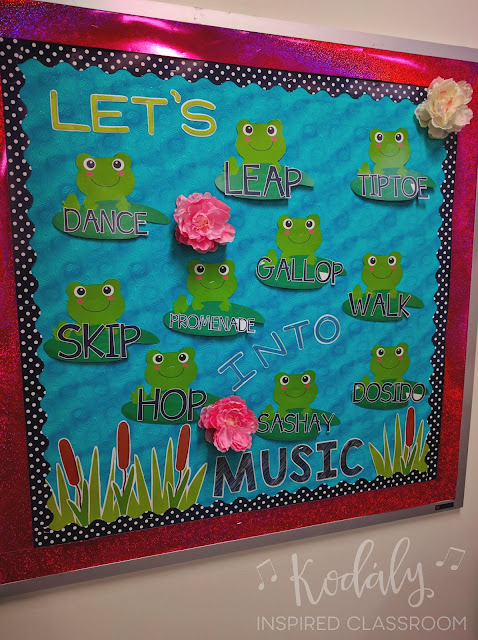 Let's Hop Into Music - elementary music bulletin board for movement vocabulary from Kodaly Inspired Classroom
