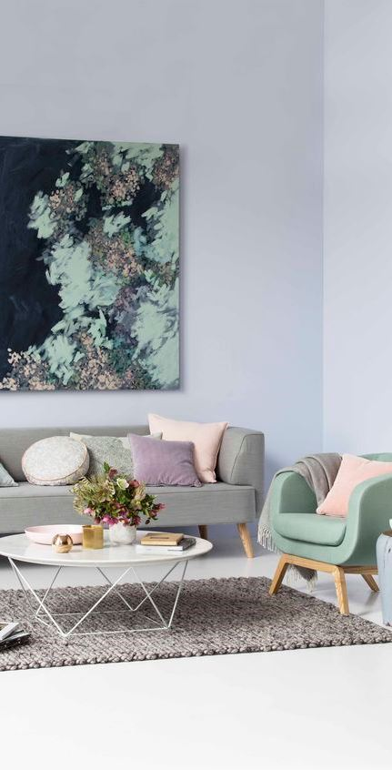 pastel living room interior design