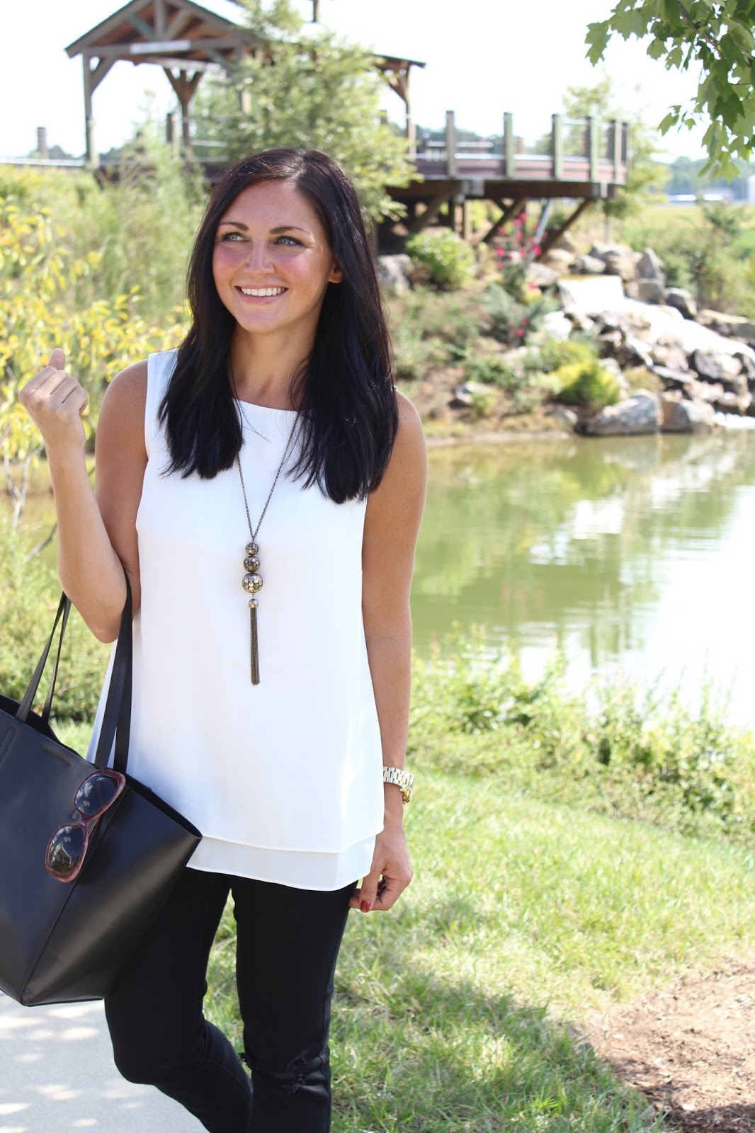 Tassel Necklace, Cream layered tank J. JIll Style