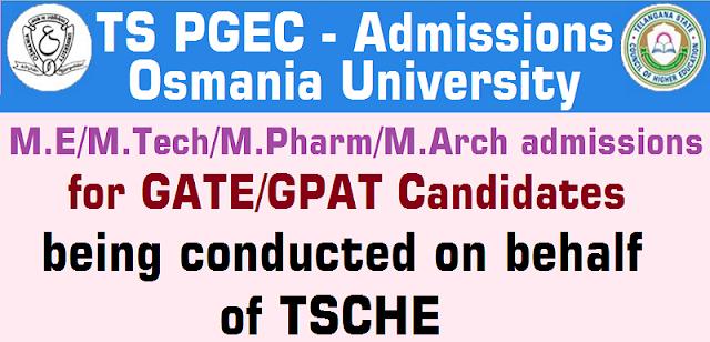 TS PGEC,TS M.E/M.Tech/M.Pharm/M.Arch/Pharm.D,admissions 2019