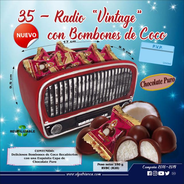 Radio Vintage con Bombones de Coco El Patriarca 200 g - Comercial H. Martín sa