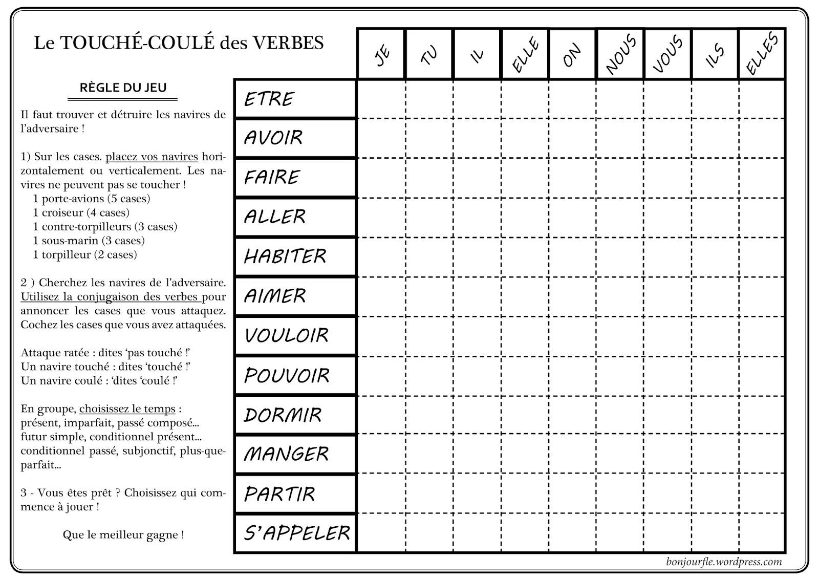 Flewer power r viser les verbes avec la bataille navale for Tableau temps de sterilisation plats cuisines