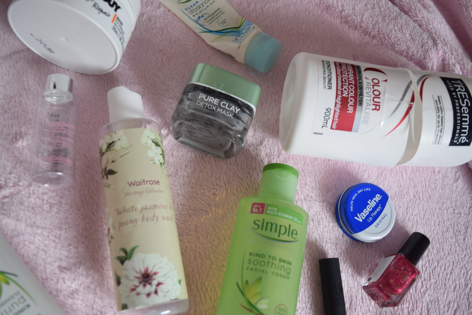 flatlay of empty beauty products