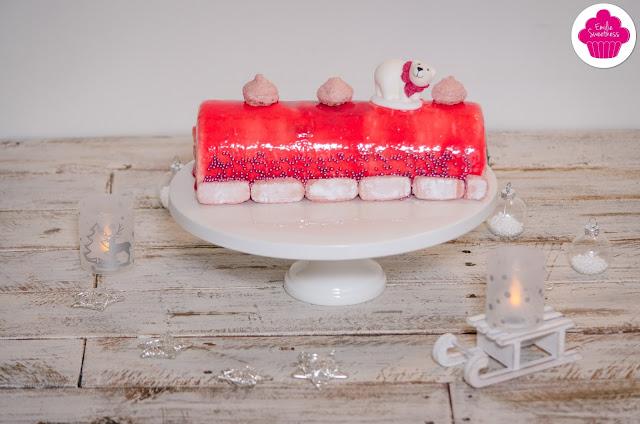 Bûche vanille framboises et biscuits roses - bûche de noël