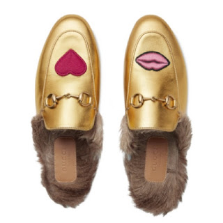 Gucci Princetown Lips & Fur Mule in Gold