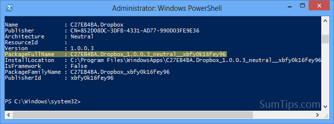uninstall modern ui app powershell