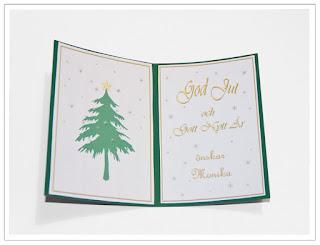 Julkort insida, gran och text