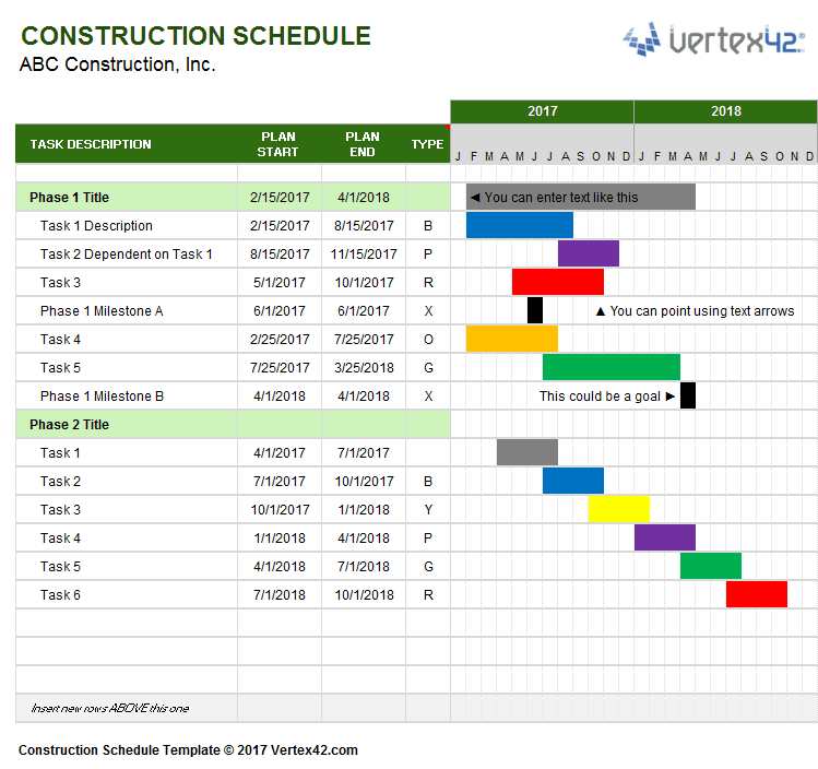 Construction Schedule Template Engineering Management