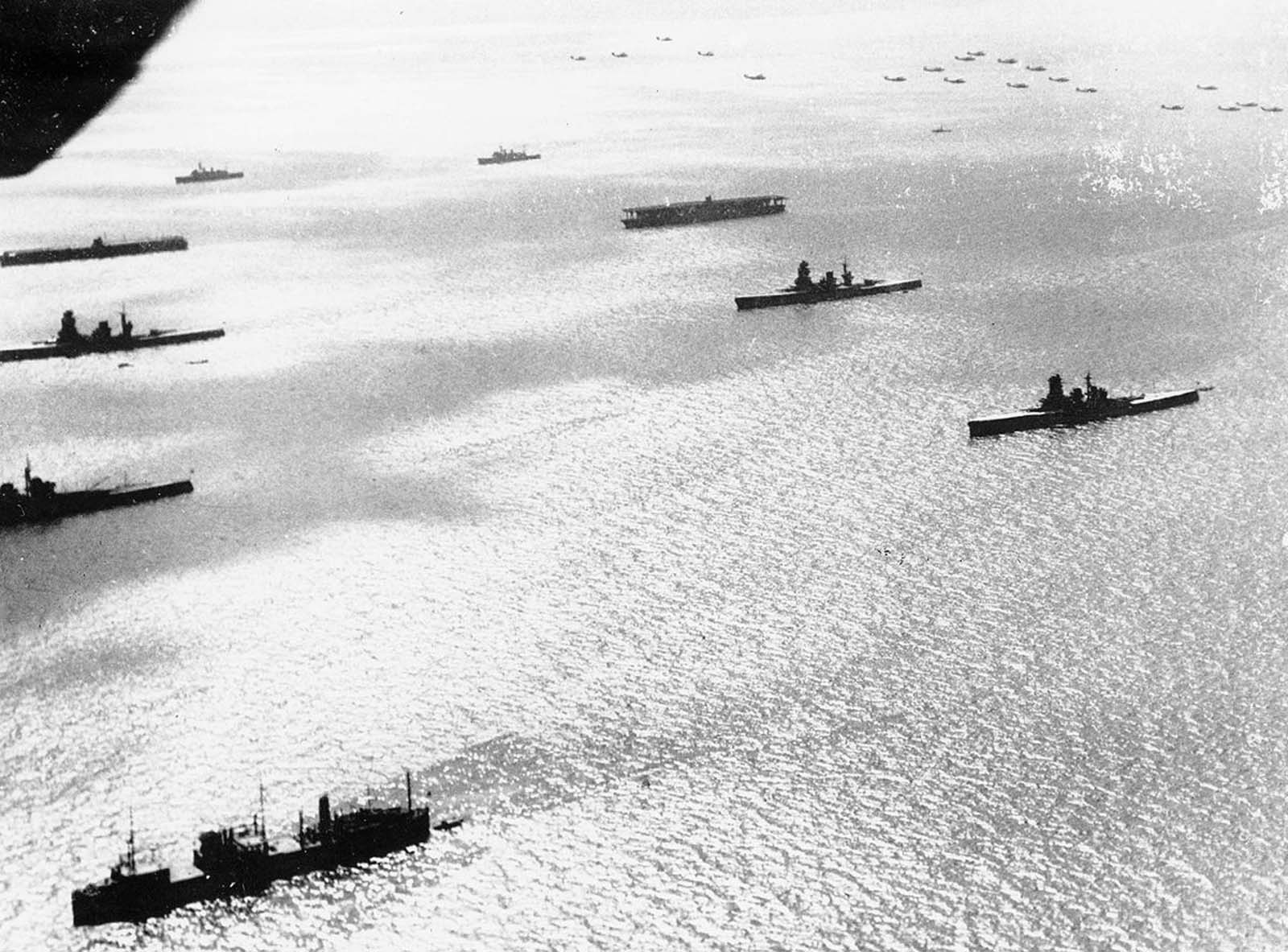 This aerial view shows Japan's home fleet, arrayed in battle line, on October 29, 1940, off the coast of Yokohama, Japan.