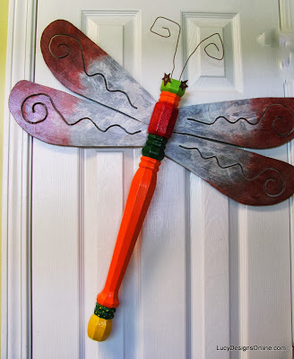 table leg dragonfly recycled art