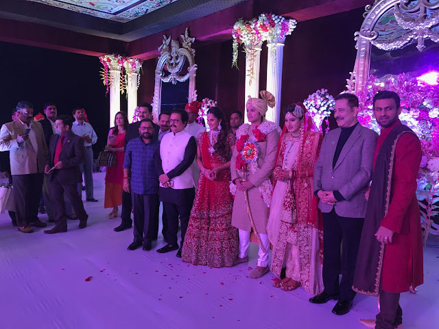 Photographs of Saharasri' Subrata Roy Sahar and Sania Mirza at her sister's wedding at Hyderabad