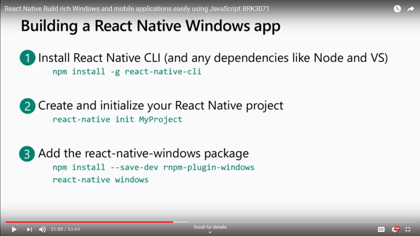 React Native Build rich Windows and mobile applications easily using