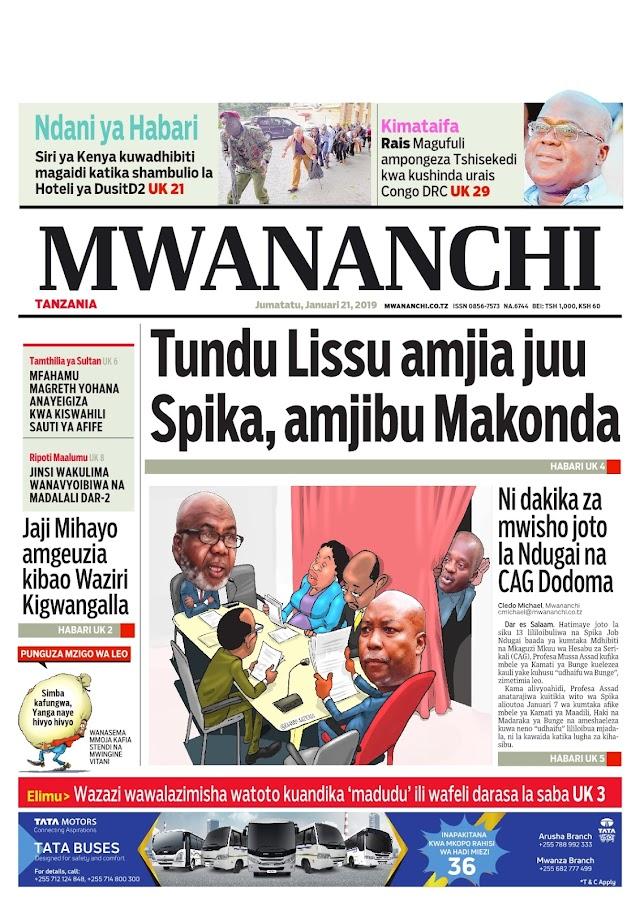Habari Zilizopo Katika Magazeti ya Leo Jumatatu ya January 21