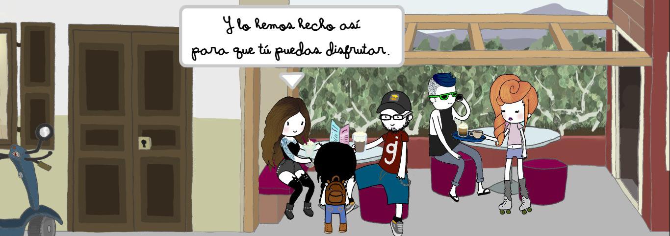 Nika habla sus creadores, que están sentados en la terraza de un bar.