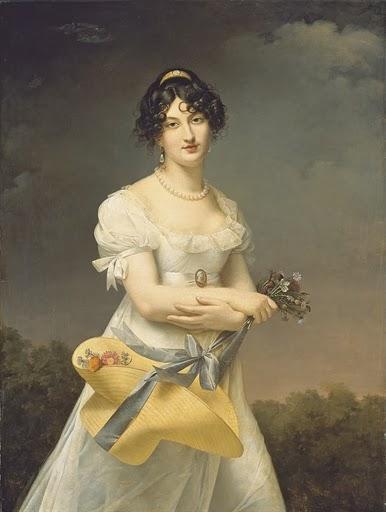 Portrait d'Amélie-Justine Laidin de la Bouterie, née Pontois, tenant un chapeau rempli de fleurs, Adèle Romany