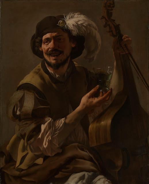 Hendrick ter Brugghen - Un sonriente Bravo con un cello y un vaso - 1625