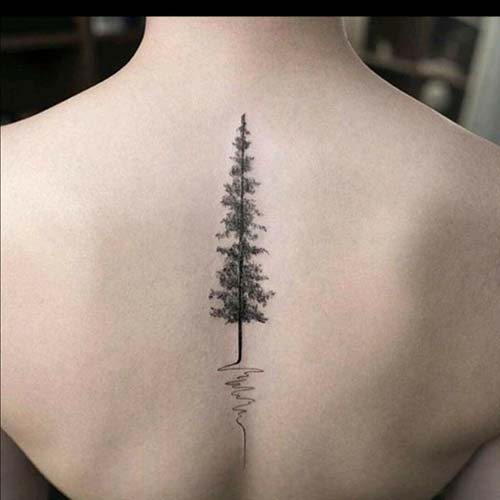 kadın sırt ağaç dövmesi woman back tree tattoo