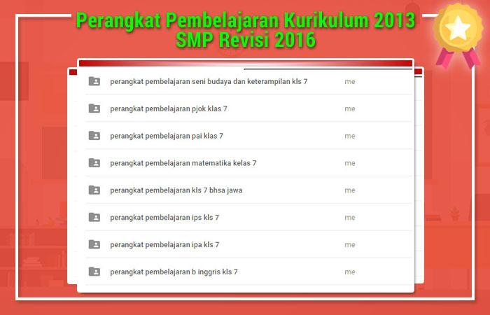 Perangkat Pembelajaran Kurikulum 2013 SMP Revisi 2016