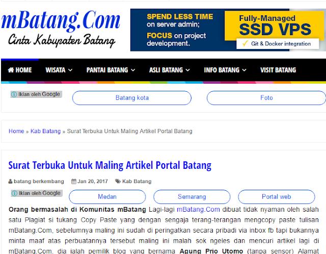 Mbatang.com Korban Plagiat Portalbatang.com