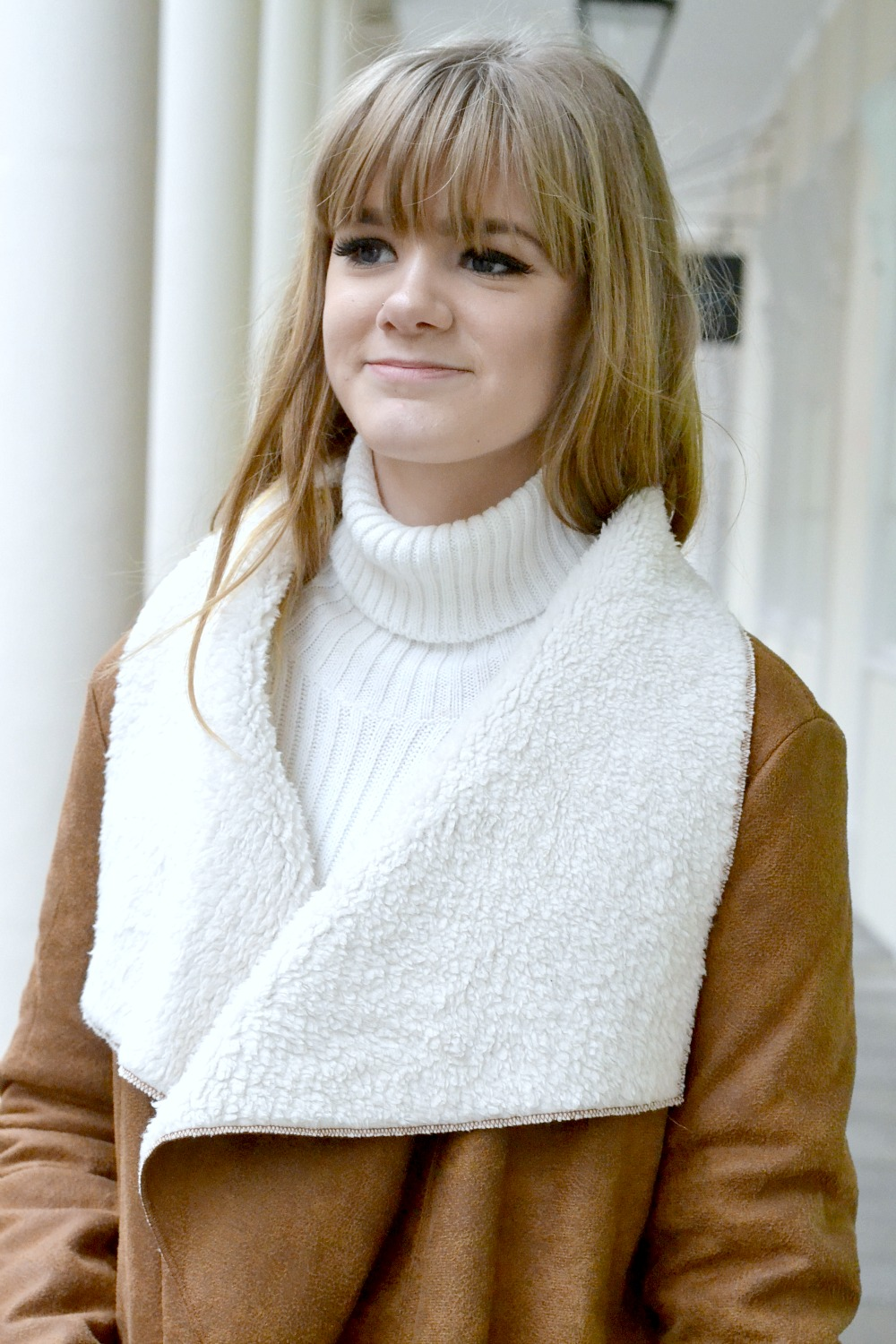 Tan and White Suedette Faux Shearling Coat