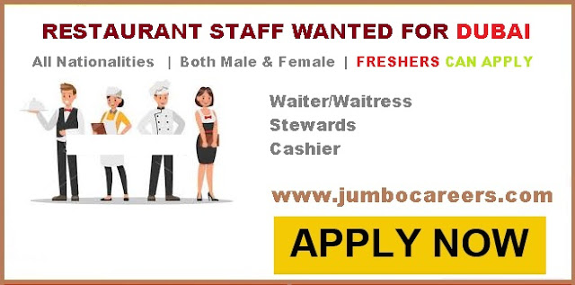 Urgently Required Restaurant Staff For Dubai Freshers Also