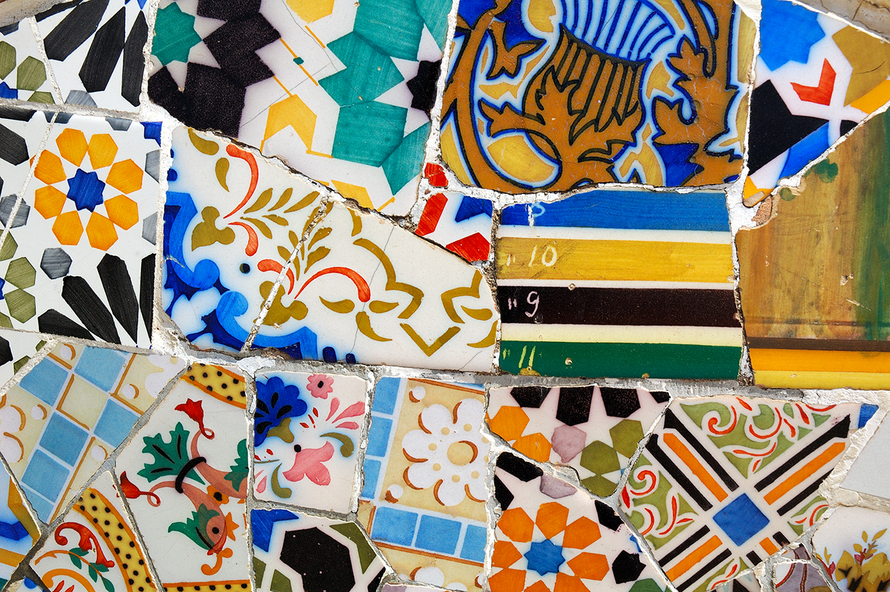 Mosaic Work Called Trencadis by Gaudi at Park Guell