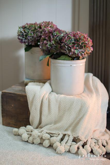 vintage ironstone crocks with hydrangea pots