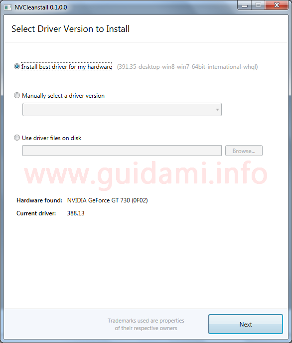 NVCleanstall schermata Select Driver Version to Install