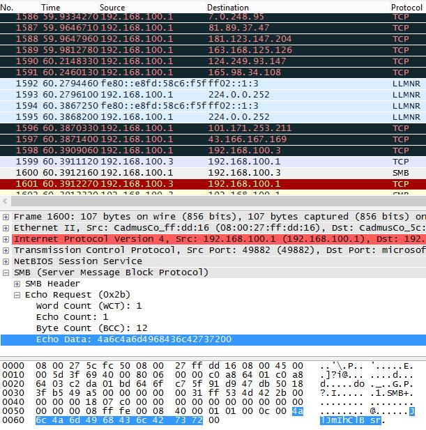 La cadena en una captura de tráfico de infección lateral de WannaCry,  lo que indica una clara inspiración en el EternalBlue original