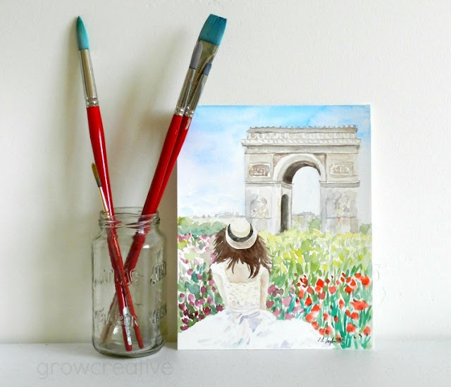Original Watercolor Painting of Girl in front of Arc de Triomphe, Paris by Elise Engh
