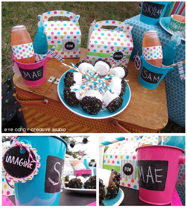 boxed lunches, gable boxes, chalkboard decor, art party ideas
