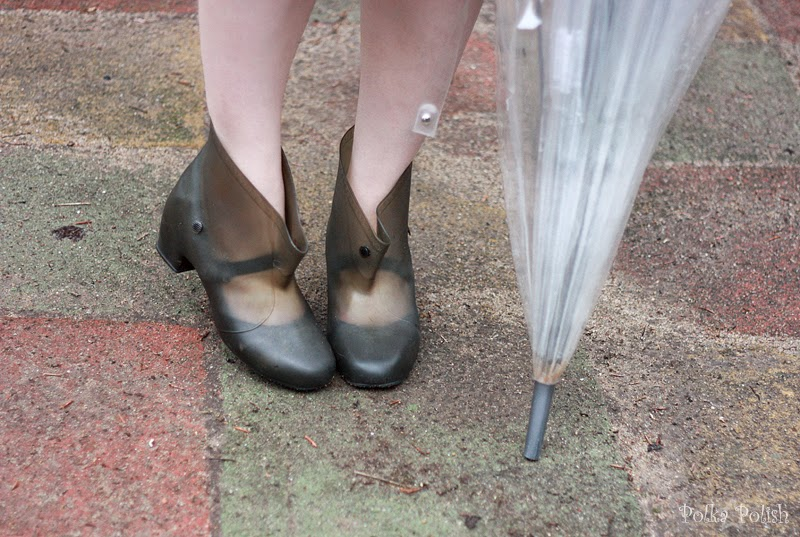 Vintage overshoes or galoshes keep shoes dry in the rain