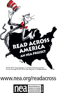 Read Across America Logo from the NEA, a map of the U.S. with the Cat in the Hat draped over the top, tipping his hat