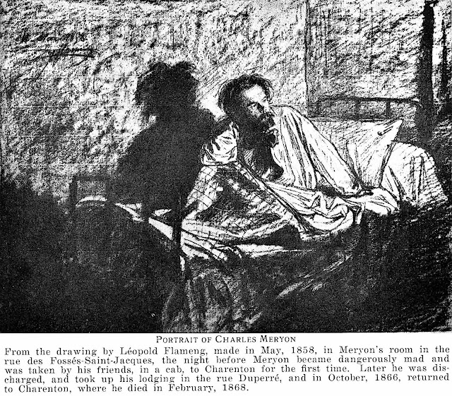 """""""Portrait of Charles Meryon""""  the artist in an 1858 hotel bed one day before his hospitalization"""