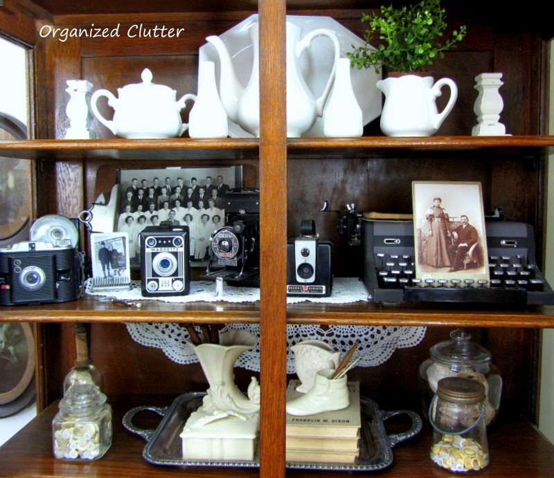 Vintage, Neutral Vignettes for the China Cabinet www.organizedclutterqueen.blogspot.com