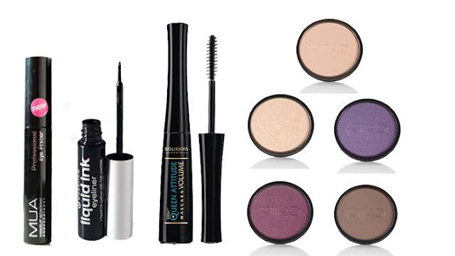 Productos utilizados.Maquillaje de noche para ojos verdes.