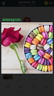 На столе коробка внутри которой находятся цветные макарон и рядом лежит красная роза