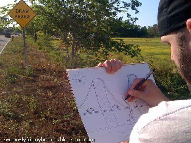 draw-bridge-sign-man-draws-bridge-literally